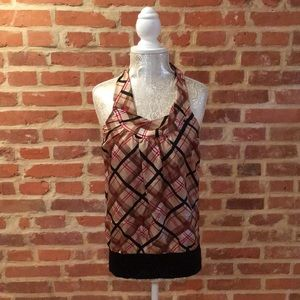 Bebe 100% silk plaid twisted neck halter blouse.